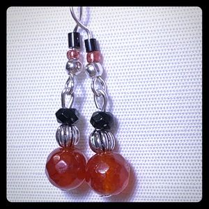 Ruby and Onyx silver earrings